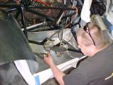 Simon ( A+ fabricator) extending the orginal fuel tank on the right side of the car. A bladder will be made to fit inside.