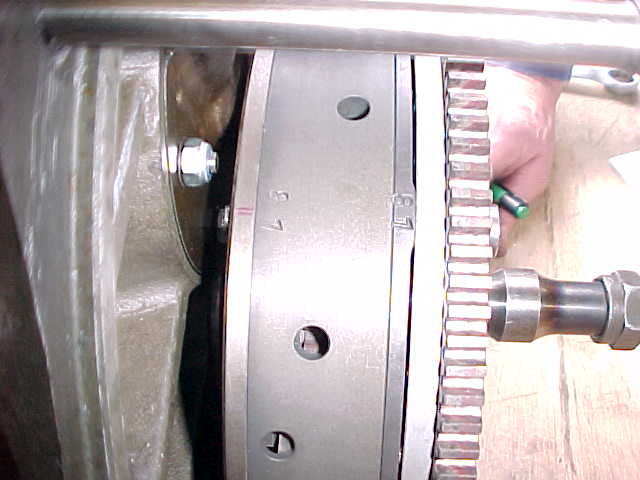 Side view of the clutch assy. Note the ballancing numbers allinged