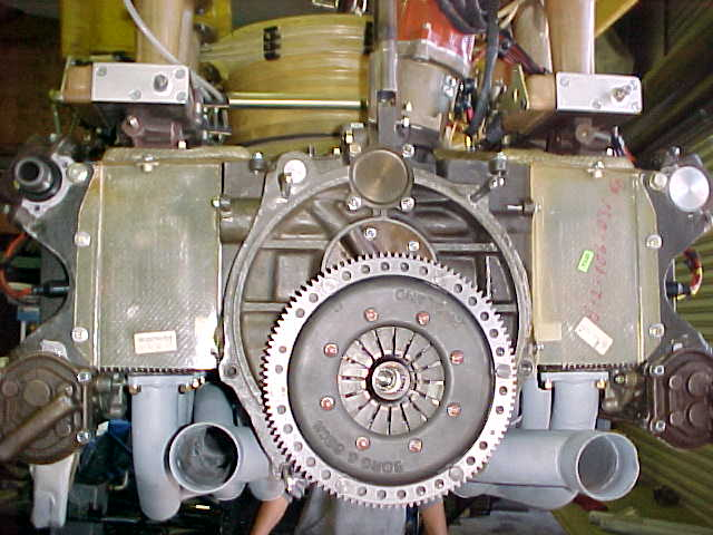 Rear view of engine with the headers on