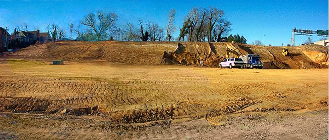 Flattened site of Nicks Seafood Pavilion, Yorktown, Virginia