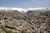 View from Our Lady of the Bekaa looking NW at Zahle and Mount Lebanon Range