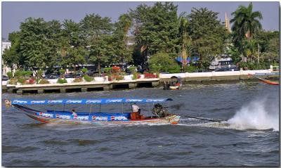 Long-tail boat on the Chao Phraya River near Bangkok
