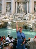 Julia doing a mandatory toss at the Trevi Fountain