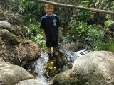 Brandon lost his balance and one foot went in the water...he looked at me and put the other foot in, too....