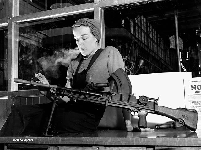 Veronica Foster making Bren in Inglis factory