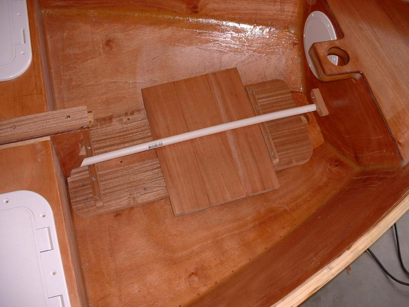 Seats and rudder stored in bow section and held with PVC pipe