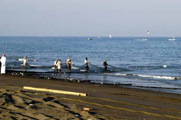 Fishermen on the beach north of Fujairah