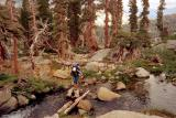 crossing river in desolation wilderness