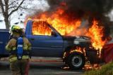 Truck Fire at Blockbuster Video (Shelton) 12/10/03