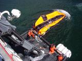 Inflating first 150 person life raft