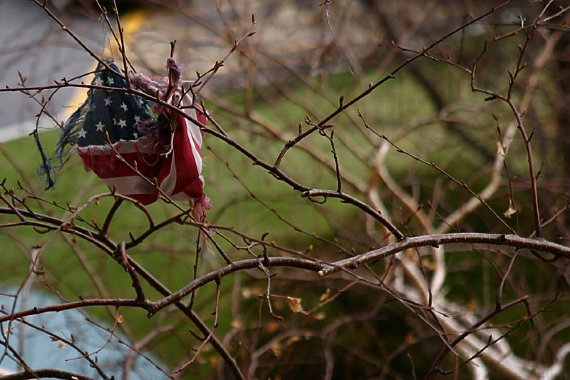 A tattered flag