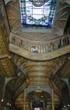 An elaborate staircase inside a bookstore