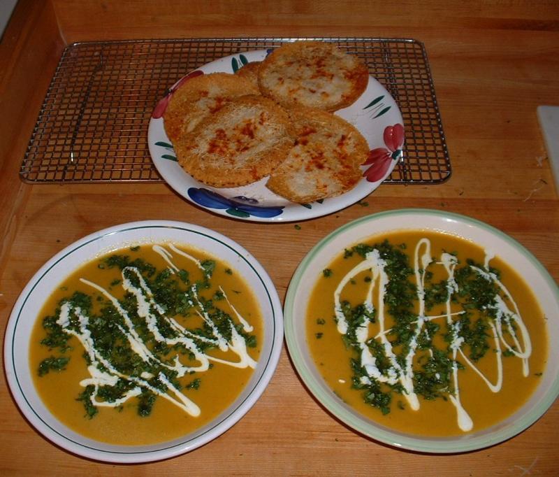 Carrot Coriander Soup with Asiago cheese tostada crisps
