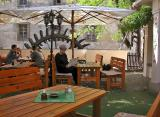 Outdoor cafe at waterwheel
