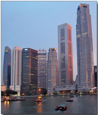 Central business district at dusk
