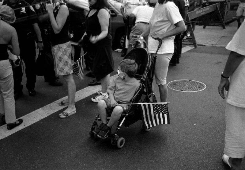 91201 Child w Flag Stroller