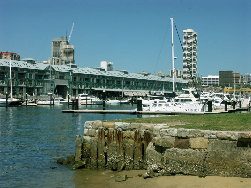 Old seawall, redeveloped finger wharf