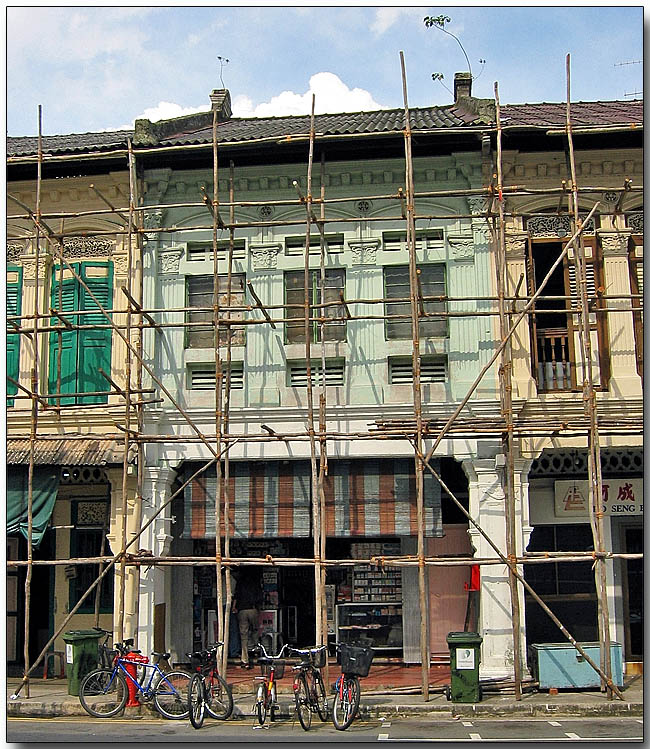 Renovation - Bamboo scaffolding in Little India