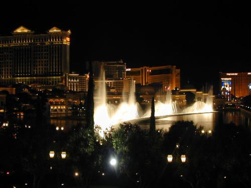 Bellagio Fountains at night.