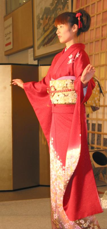 Modeling a Red and Gold Kimono