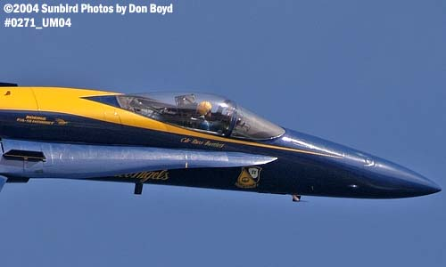 CDR Russell J. Bartlett, leader of the Blue Angels, in F/A-18 Hornet #1 military aviation air show stock photo #0271