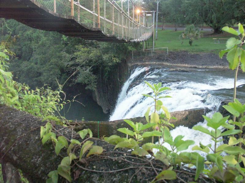 Suspension bridge over the falls.