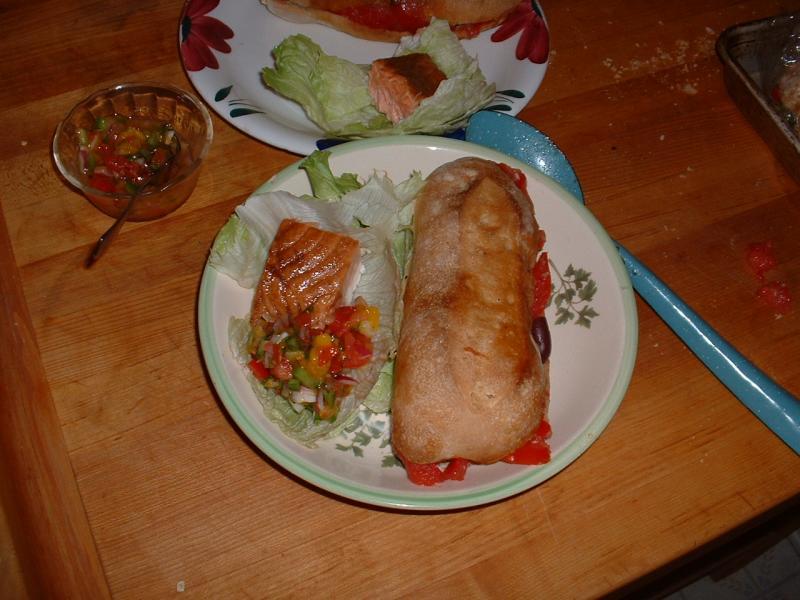 Pain Bagnat and salmon close