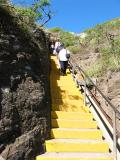 74 concrete steps leading into the first tunnel