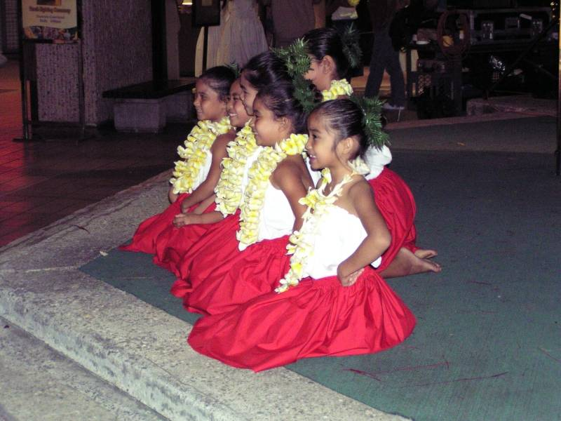 Hula performers taking curtain call