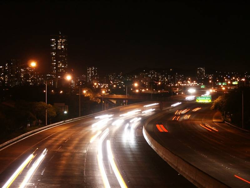 H-1 highway at night
