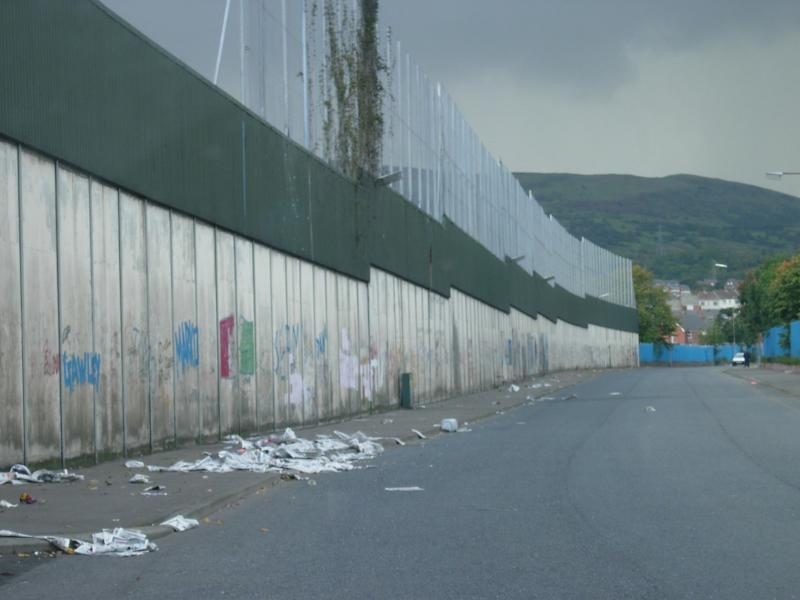 The Peace Line, separating the Catholic and Protestant areas of West Belfast.