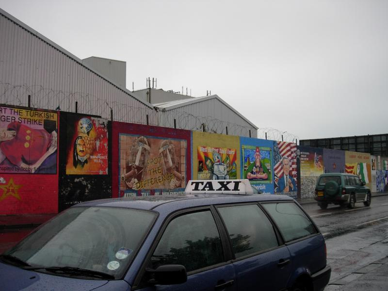 A wall of murals in the Catholic/Republican Falls Road area.