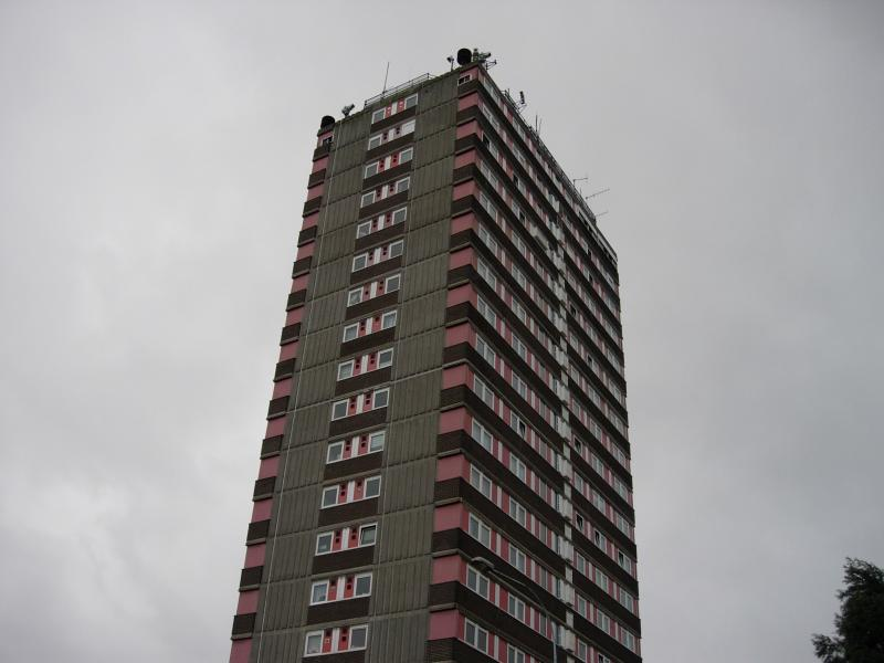 Top three floors occupied by the British Army as a surveillance post.