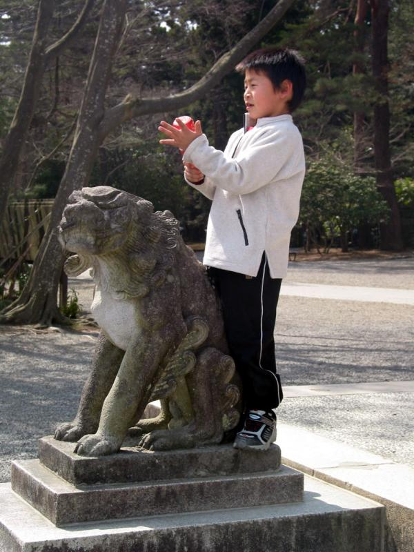 Child with temple dog