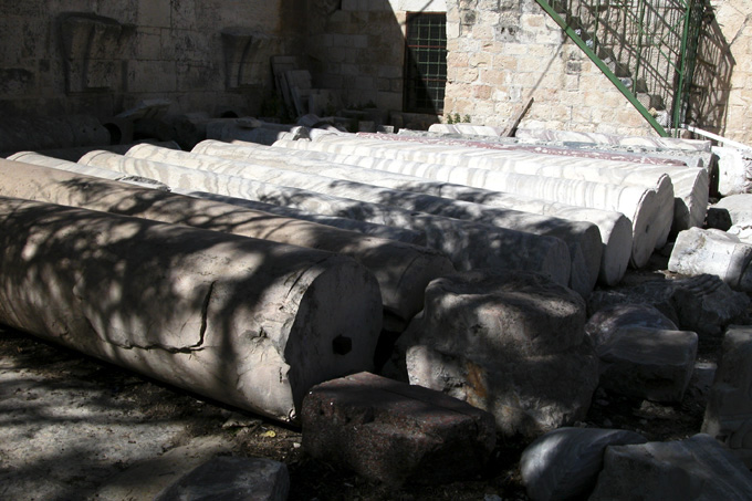 Archeological finds lie in piles in one corner of the Mount