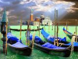 Venice,-Gondolas on Pier