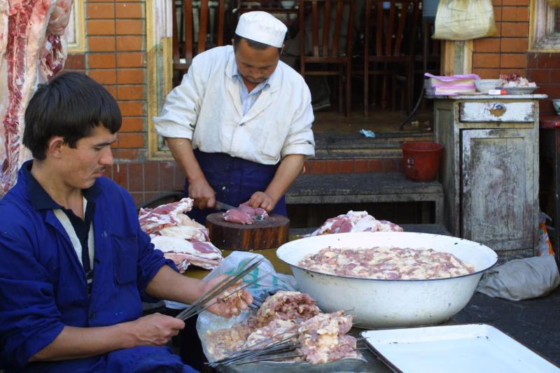 Preparing Lunch - Lamb Shishkebabs