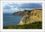Three walkers ~ west of West Bay, Dorset
