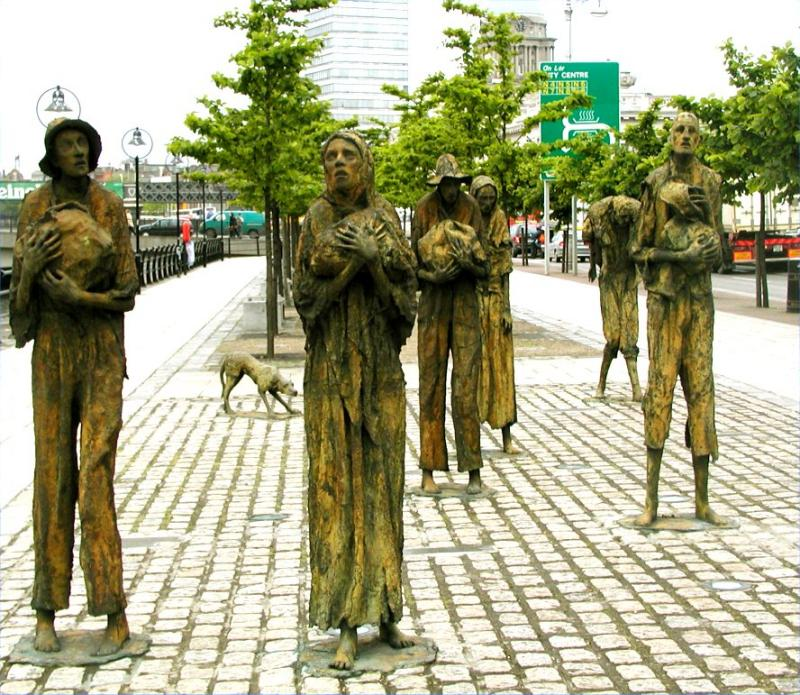 Famine memorial on the Liffey