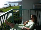 On the balcony at the Shore Cliff Lodge, Pismo Beach, California