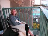 Laurie in the balcony at Shore Cliff Lodge, Pismo Beach, CA