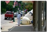 Senior Citizen Observing Giant Sheep on Main Street