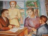 Closeup of Sue Brown Dietrich's fresco