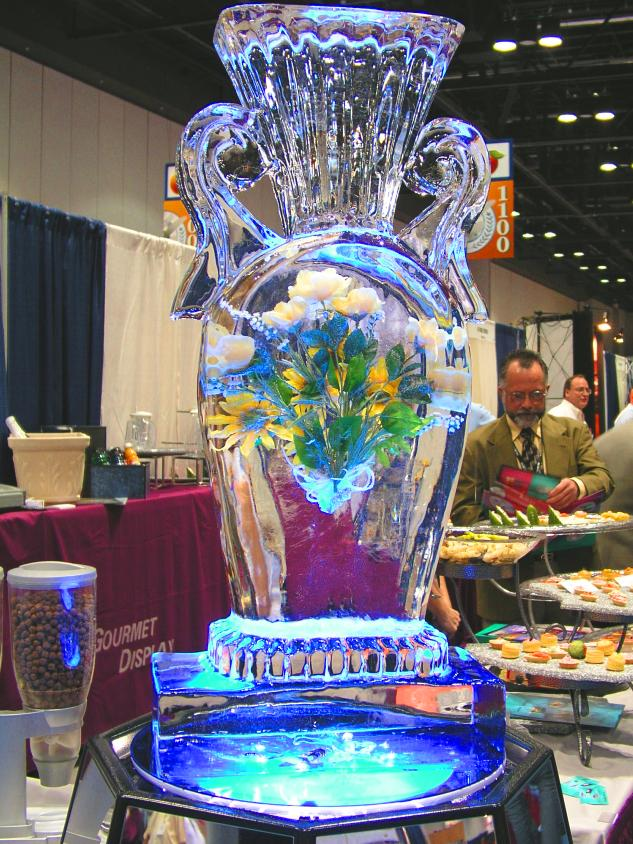 Flowers in a Vase Ice Sculpture