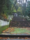 Braga - One of many walkways leading to the stairs to reach Bom Jesus