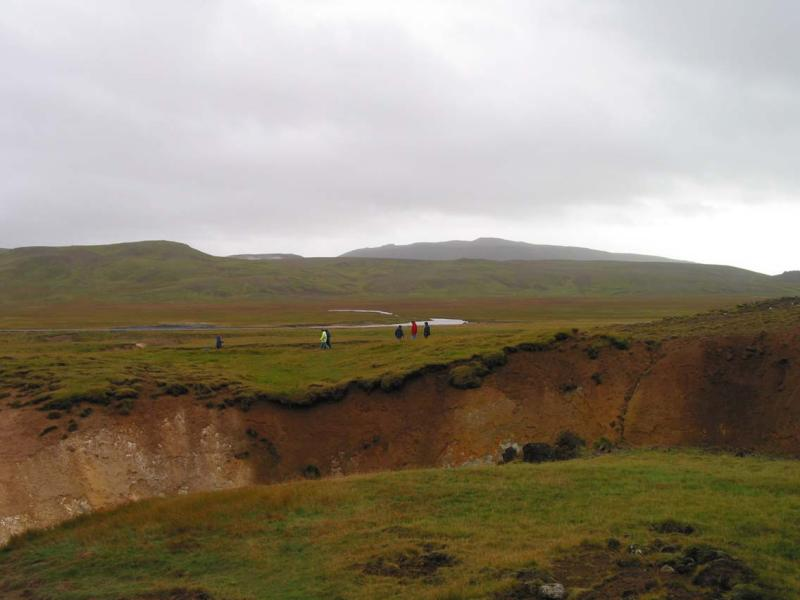 A fissure in the earth. Iceland is the newest body of land on Earth.
