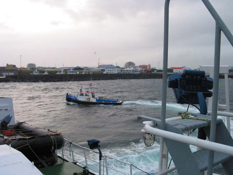 Approaching our cruise vessel in Keflavik harbor.