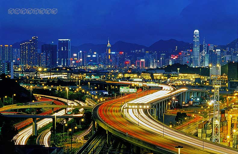 Magic hour with the light trail of west kowloon highway