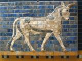 Now at the Nat'l Archaeological Museums, this is from Babylon's main entrance, from the reign of Nebuchadnezzar II (605 - 562 BC). Part of a hallway with lions on one side, bulls and mythical beasts on the other, this was my favorite. Hooves outside brick are a nice touch.