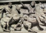 While others favor Mazaeus as owner, most feel the sarcophagus belonged to King Abdalonymos of  Sidon and that this long side depicts Alexander and Abdalonymos hunting together.